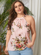 Flowers Print Halter Plus Size Tank Top for Women - Pink