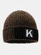 メンズレターパターンPlus厚手の冬は暖かく防風ニット帽を保つ - コーヒー