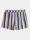 Mens Colorful Striped Breathable Casual Drawstring Swim Trunks With Pocket - Pink