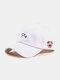 ユニセックスコットン無地文字漫画豚刺繡シンプルな野球帽 - 白い