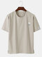 Mens Cotton Solid Color Small Cloud Embroidered Loose T-Shirt - Apricot