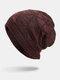Men Winter Plus Velvet Striped Pattern Outdoor Long Knitted Warm Beanie Hat - Wine Red
