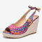 LOSTISY Women Printing Decor Comfy Wearable Peep Toe Casual Espadrilles Wedges Sandals - Brown