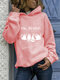 White Cat Print Long Sleeves Casual Hoodies for Women - Pink