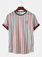 Mens Striped Printed O-Neck Short Sleeve Casual Summer T-Shirts - White