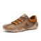 Men Hand Stitching Leather Non Slip Casual Driving Shoes - Khaki