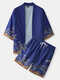 Mens Japanese Waves Print Open Front Kimono Two Pieces Outfits - Blue