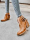 Women Large Size Pointed Toe Casual Retro Elegant Chunky Heel Ankle Boots - Brown