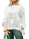 Solid Color Knotted Hem O-neck Long Sleeve Casual Blouse For Women - White