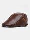 Collrown Men PU Stitch Letter Rivet Label Adjustable Casual Retro Warmth Beret Flat Cap - Tan