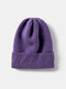 Unisex Knitted Solid Color Jacquard Brimless Flanging Outdoor Warmth Beanie Hat - Purple