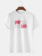 Mens 100% Cotton 3D Letter Back Graphic Street Loose Short Sleeve T-Shirts - White