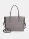 QUEENIE Casual Shopping Multifunction Handbag Ripple Shoulder Bag - Grey