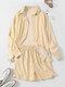 Striped Button Pocket Lapel Collar Long Sleeve Shirts & Shorts - Yellow