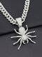 Alloy Diamond Spider-shape Thick Cuban Chain Hiphop Men's Insect Necklace - Silver