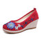 Women Handmade Floral Embroidered High Heels Cloth Wedges Shoes - Red