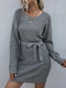 Solid Color Waistband O-neck Long Sleeve Casual Sweater for Women - Dark Gray
