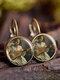 Vintage Glass Gemstone Dangle Earrings Famous Oil Printing Women Pendant Earrings - #12