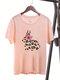 Women Easter Leopard Cartoon Animal Print Short Sleeve O-neck T-Shirt - Flesh Pink