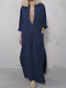 Solid Color Deep V-neck Long Sleeves Loose Dress With Side Pockets - Navy