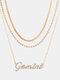 Collar Vintage Doce Constelaciones Mujer Collar de diamantes con incrustaciones de múltiples capas Colgante - Geminis