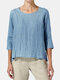Solid Color 3/4 Sleeve O-neck Casual T-shirt - Blue