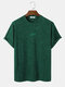 Mens Letter Embroidery Towelling Short Sleeve Casual T-Shirt - Green
