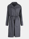 Elastic Waist Casual Long Sleeve Hooded Plus Size Trench Coat - Grey