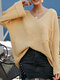 Casual Flare Sleeve V-neck Plus Size Sweater - Yellow
