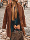 Solid Color Button Plush Long Sleeve Casual Coat for Women - Coffee