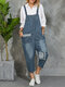 Button-up Strap Casual Jeans Jumpsuit with Pocket - Blue