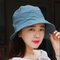 Women Summer Solid Vogue Sunscreen Fishmen Hat Outdoor Casual Sports Breathable Hat  - Light Blue