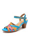 SOCOFY Colorful Cross Strap Cowhide Leather Wearable Comfy Ankle Strap Hook Loop Casual Heels Sandals - Blue