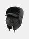 男性防寒冬用トラッパーハットマスクトラッパーハット付き厚手の冬用ハット耳栓 - 黒