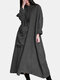 Solid Color Button Pocket Long Sleeve Casual Loose Dress - Dark Gray