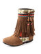 Women Tassel Boots National Style Splicing Flat Mid-Calf Moccasin Boots - Yellow