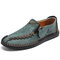 Menico Men Hand Stitching Leather Non Slip Soft Sole Casual Shoes - Green