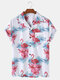 Mens Flamingo Printed Revere Collar Casual Short Sleeve Shirts With Pocket - White