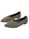 Women Comfy Chevron Knitted Pointed Toe Ballet Shoes Soft Sole Slip On Flats - Apricot