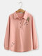 Embroidery Long Sleeve Turn Down Collar Shirt For Women - Pink