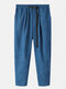Mens Corduroy Solid Color Loose Pants With Push Buckle - Blue