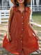 Solid Color Lapel Sleeveless Button Loose Casual Dress For Women - Orange