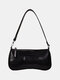 Women PU Alligator Shoulder Bag Handbag - Black