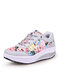 Women Round Toe Flowers Printed Lace Up Rocker Sole Running Shoes - Gray Pink