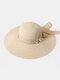 Women Wide Brim Summer Beach Holiday Bowknot Sunshade Straw Hat Bucket Hat - Beige
