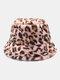 النساء والرجال صوف الحمل الدافئة Soft ليوبارد نمط عارضة شخصية دلو قبعة - زهري