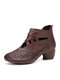 Women Retro Woven Printed Hollow Chunky Heel Shoes Back-zip Soft Comfy Ankle Boots - Dark Brown