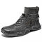 Men Vintage Hand Stitching Comfy Leather Ankle Elastic Sock Boots - Gray