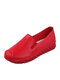 Women Solid Color Stitching Comfy Soft Loafers Casual Flat Shoes - Red