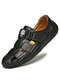 Menico Men Woven Style Hook Loop Hand Stitching Leather Sandals - Black